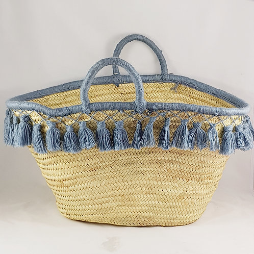 Large Grey Market Basket with Tassels