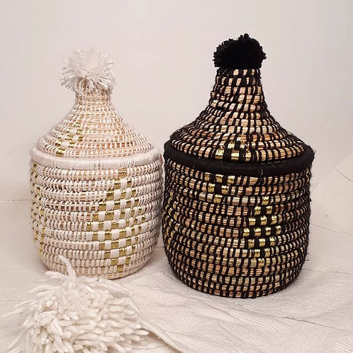 Small Berber storage basket with gold stripes in white or black
