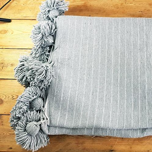 Cotton Light Grey PomPom Blanket with silver stripes - L