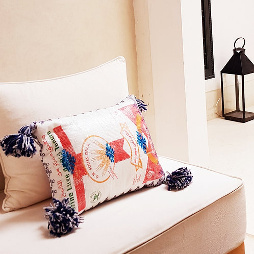 Outdoor Upcycled Cushion Cover - Blue & Grey PomPoms