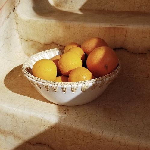 White Terracotta and Raffia Salad Bowl
