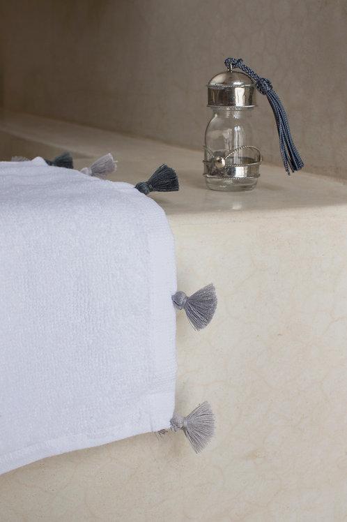 Bath Towel with Grey Tassels - Small