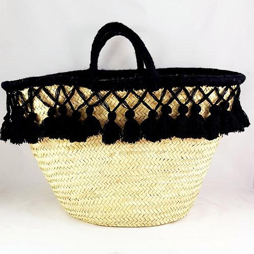 Large Black Market Basket with Tassels