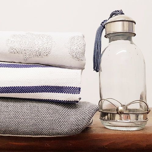 Glass Bottle with Metal for DIY beauty products - M