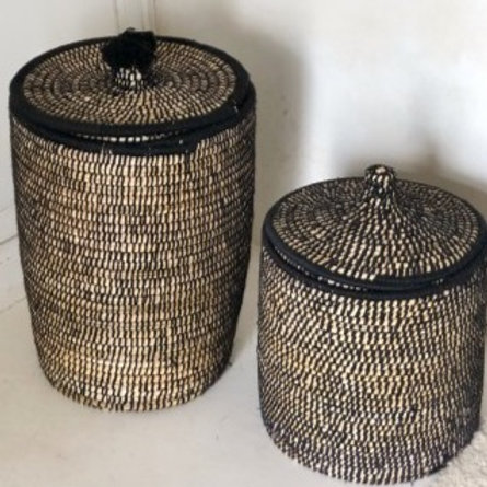 Large Laundry Basket with black embroidered wool with lid