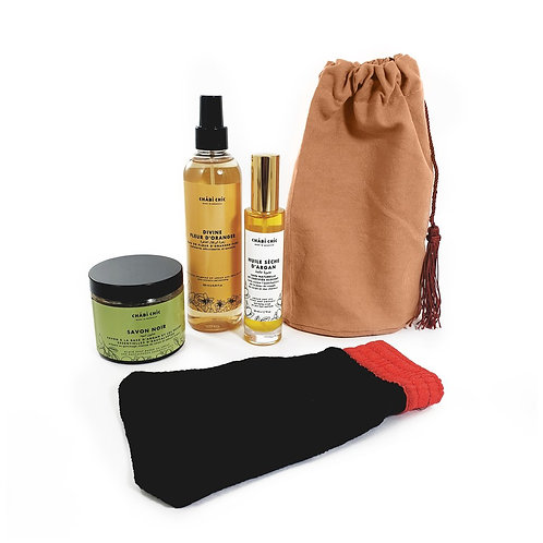 Organic Body Hamam Kit - Dry Argan Oil, Black Soap, Rose Water