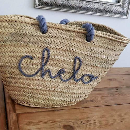 Customizable straw basket with Monogrammed text and wool handle