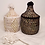 Thumbnail: Small Berber storage basket with gold stripes in white or black
