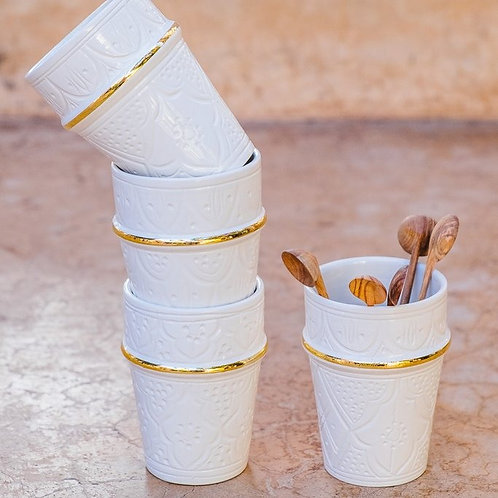 Two Small Ceramic Cup with Gold imprint