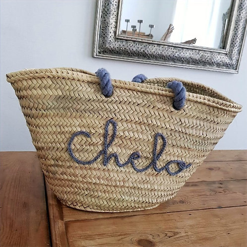 Customizable Market/Beach Basket with Wool Handle