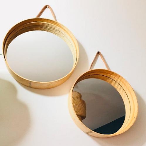Wood Flour Sieve Round Mirror