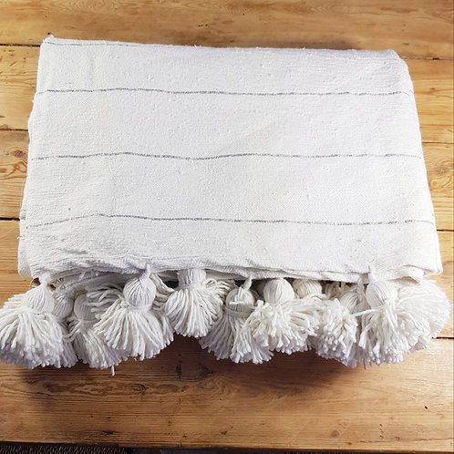 White Cotton PomPom blanket with silver stripes - L