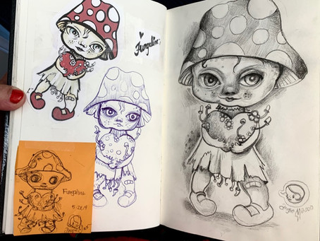 Meeting new ideas, making art, mushroom hearts and art happenings!