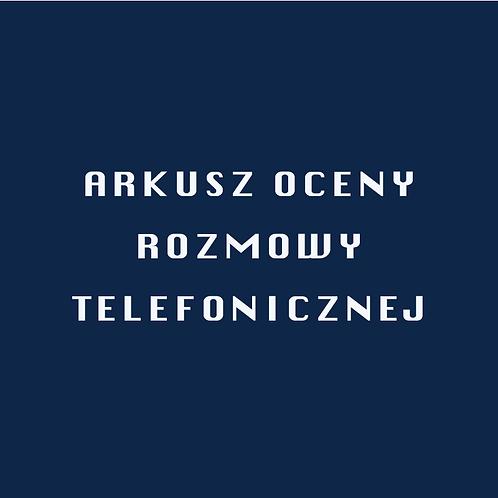 Arkusz Oceny Rozmowy Telefonicznej
