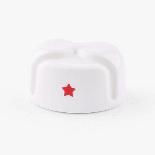 Soviet White Winter Hat 'Ushanka' with Red Star