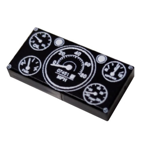 Printed LEGO® Tile 1x2 'Jeep Willys Instrument Panel'