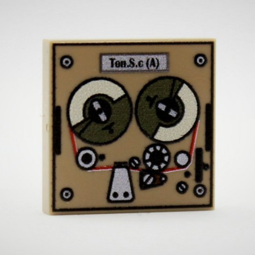 Printed LEGO® tile 2x2 'Radio Tape Recorder, Tone Recorder'