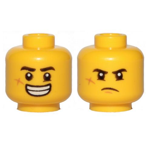 Head Dual Sided Black Eyebrows, Cheek Scar, Large Smile with Teeth / Grumpy