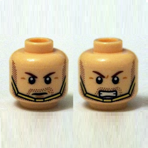 Head Dual Sided, Stubble Beard, Gold Chin Strap, Serious / Bared Teeth Pattern