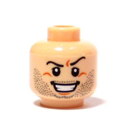 Head Beard Stubble, Arched Eyebrow, Evil Grin with Teeth Pattern