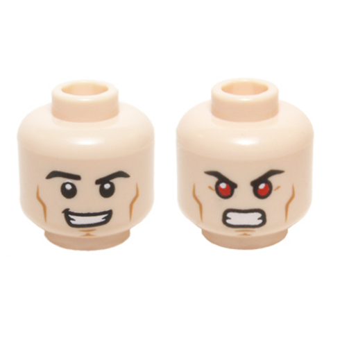 Head Dual Sided Black Eyebrows, Cheek Lines, Chin Dimple, Open Mouth