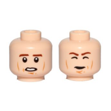 Head Dual Sided Brown Eyebrows, Cheek Lines, Chin Dimple, Open Mouth