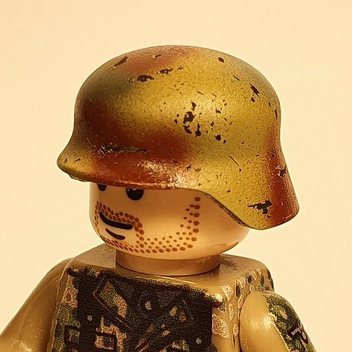 WW2 German Chipped Stahlhelm Normandy 3-Colour Camouflage