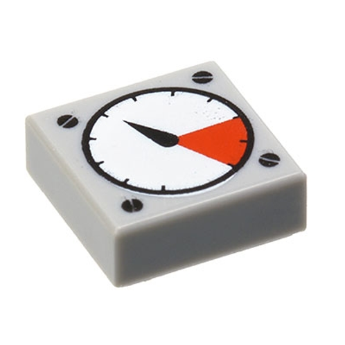 Tile 1x1 with White and Red Gauge Pattern