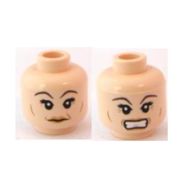 Head Dual Sided Female, Dark Brown Eyebrows, Crow's Feet, Smile / Angry