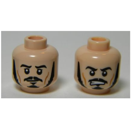 Head Dual Sided LotR Bard Long Black Sideburns, Moustache, Goatee