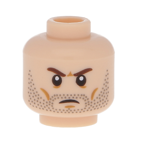 Head Beard Stubble, Brown Angry Eyebrows, White Pupils Pattern