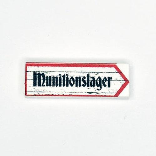 Printed LEGO® Tile 1x3 'WW2 Sign Munitionslager'