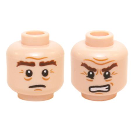 Head Dual Sided Bushy Brown Eyebrows, Sad / Grimacing Pattern