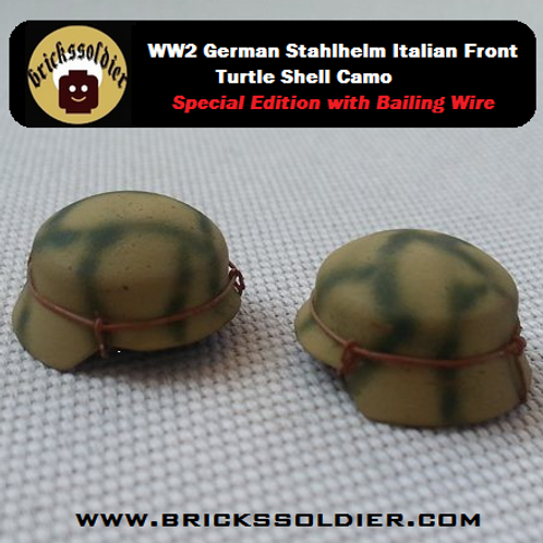 WW2 German Stahlhelm Italian Front Turtle Shell Camo with Bailing Wire