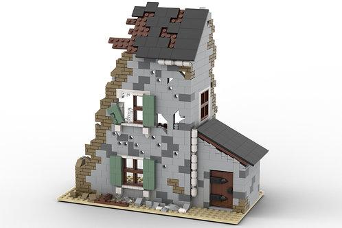 Custom WW2 Ruined Building N3 (Lego-Compatible Bricks)