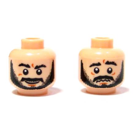 Head Dual Sided Beard Black, Bushy Eyebrows, Grin / Worried Pattern