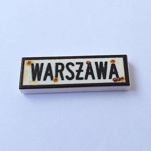 "Printed LEGO® Tile 1x3 'WW2 Road Sign Warszawa"""