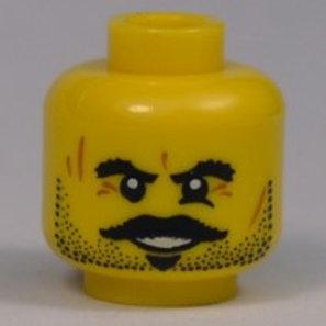 Head Beard Stubble, Moustache, Goatee, Bushy Eyebrows, Scars and Open Mouth