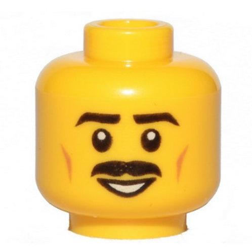 Head Moustache Black, Black Eyebrows, Brown Cheek Lines, Smile