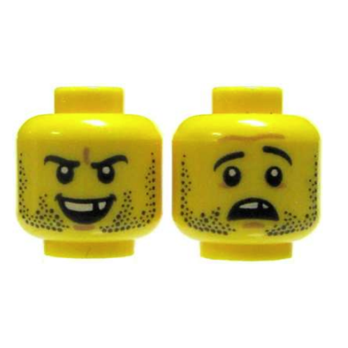 Head Dual Sided Beard Stubble, Missing Tooth, Open Grin / Frown Pattern