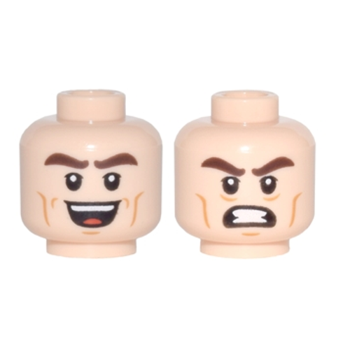 Head Dual Sided Thick Dark Brown Eyebrows, Open Mouth Smile / Bared Teeth Angry