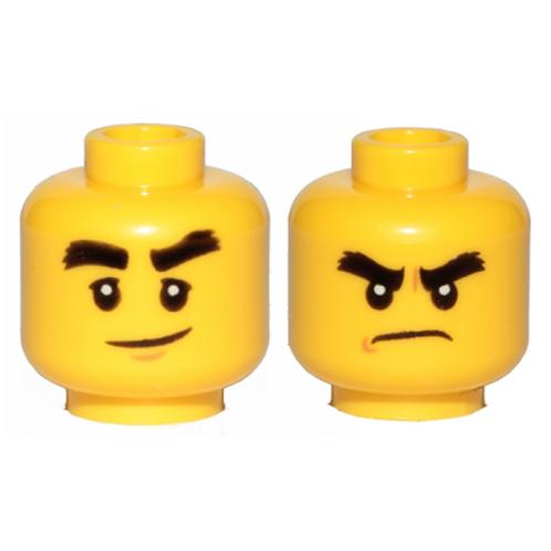 Head Dual Sided Black Bushy Eyebrows, Smile Angry Pattern