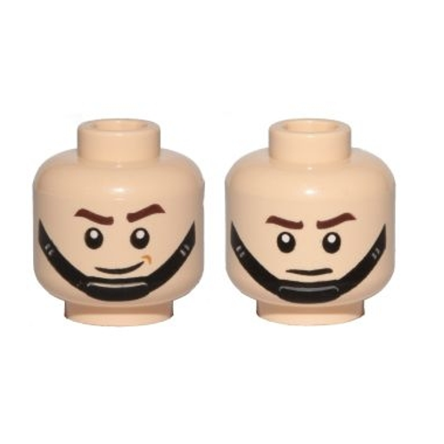 Head Dual Sided SW Brown Eyebrows, Black Chin Strap, Smile / Frown Pattern