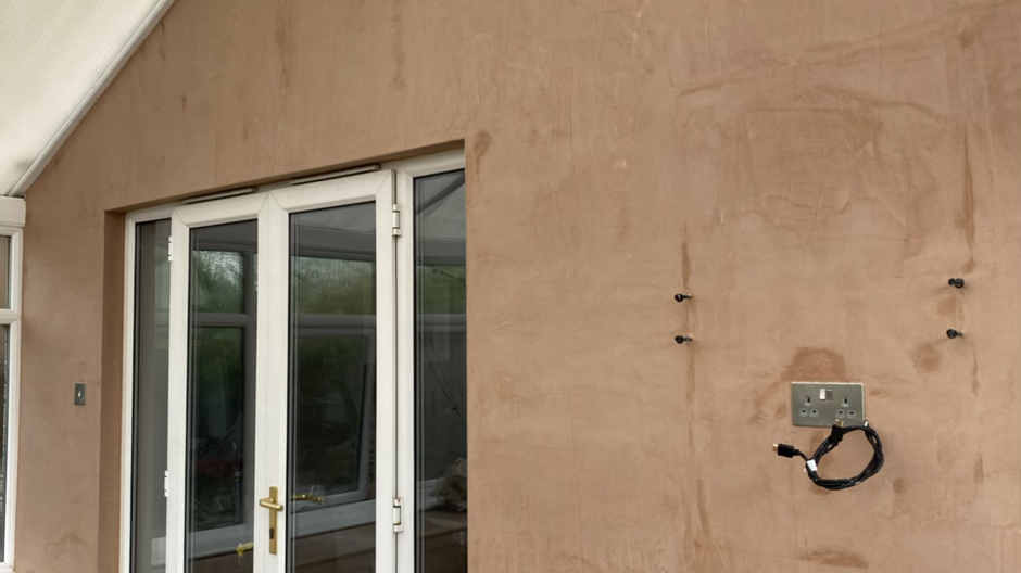 Conservatory Plastered in Holystone.