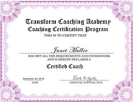 Janet Muller Certified Coach Certificate