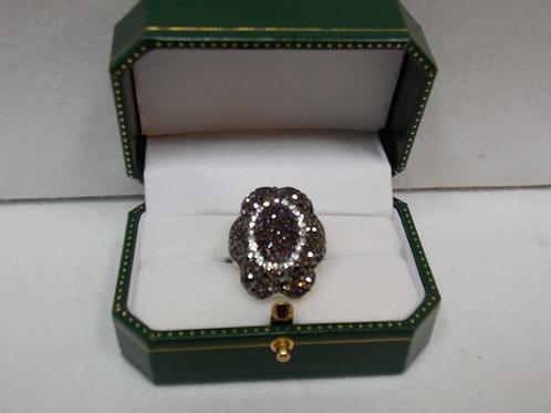 Black Druzy Ring in Sterling Silver
