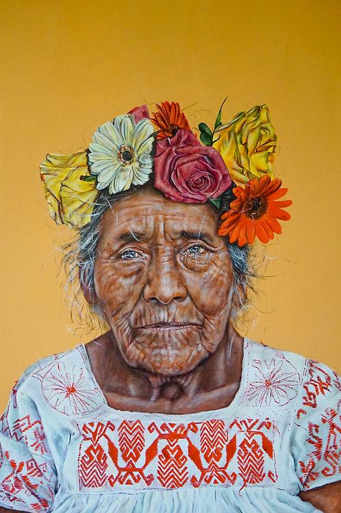 Juana w flowers in her hair