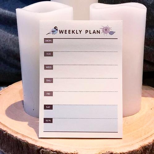 Bird & Flower Weekly Plan Notepad