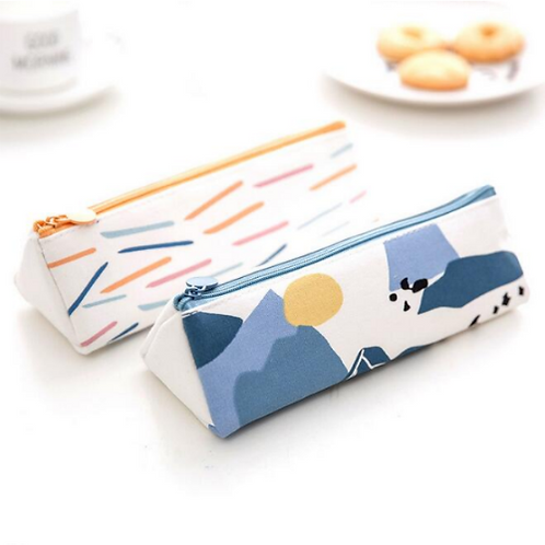 Abstract Shapes Triangular Pencil Case