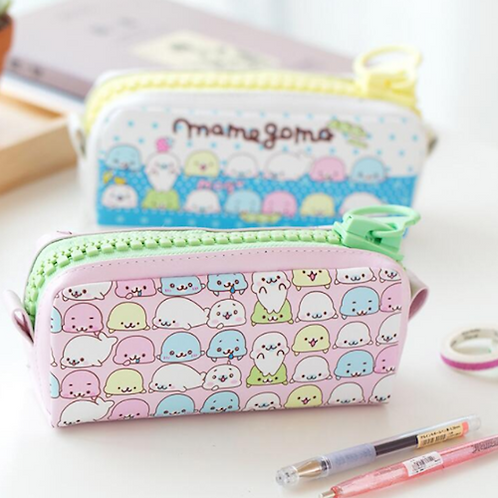 Mamegoma Pencil Case with Zippers